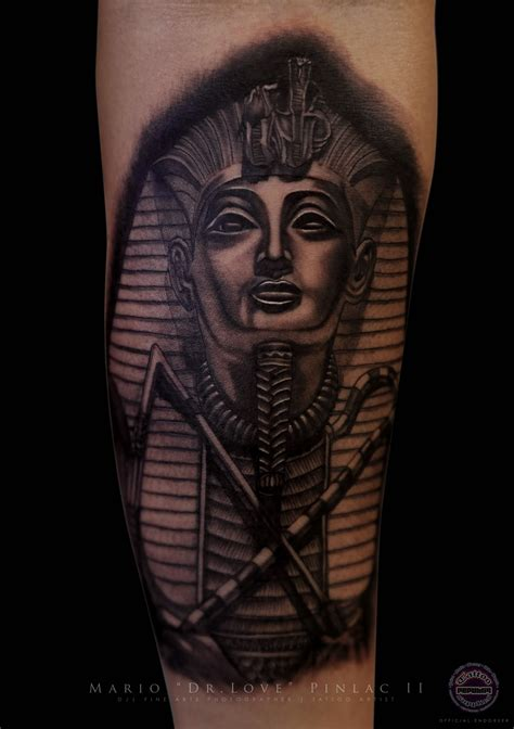 egyptian king tattoo realistic black grey pharaoh tattoos