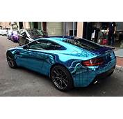 Aston Martin Vantage Gets Wireframe Ice Blue Chrome Wrap Sideview