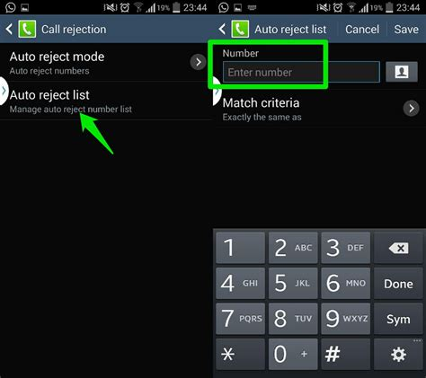 android reject list call barring settings android