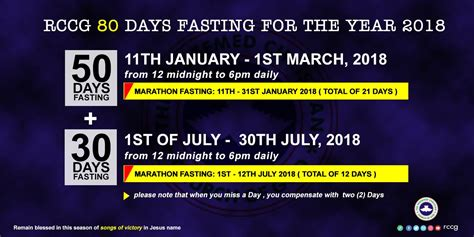 when is the day of fasting 2018 rccg 2018 eighty days fasting prayer points guide