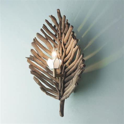 Driftwood Wall Sconce with Driftwood Leaf Wall Sconce