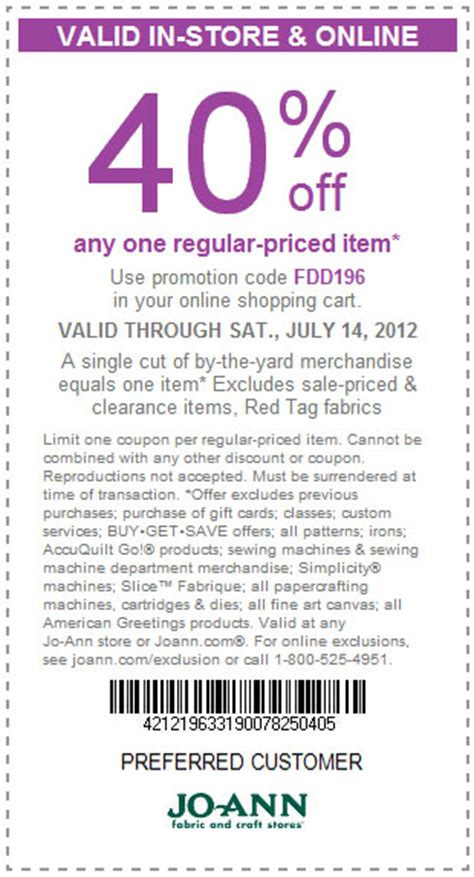 fabric depot printable coupon joann fabrics 40 off printable coupon