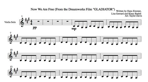 gladiator film score now we are free now we are free from gladiator violin sheet music