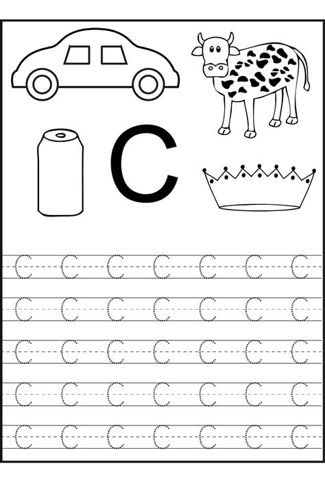 alphabet tracing printables for kids activity shelter trace the letter c worksheets activity shelter