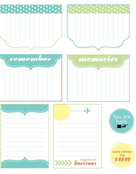 travel journal template free journal cards printables
