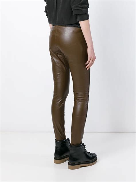 Legging Pm lyst 8pm leather effect in brown