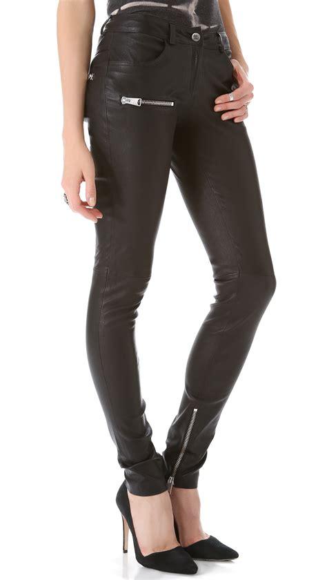 biker pants anine bing biker leather pant in black lyst