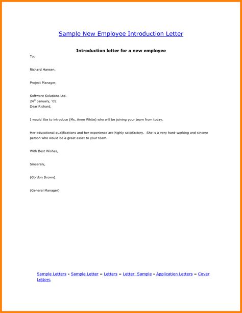 Employee Introduction Letter To Company new employee introduction letter how to format cover letter
