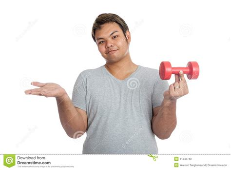 strong hold a light weight dumbbell with his