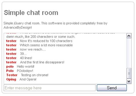 iy chat room simple jquery chatroom mail and feedback advance by design development