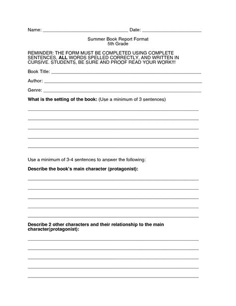 fifth grade book report format 8 best images of 5th grade book report printables 5th