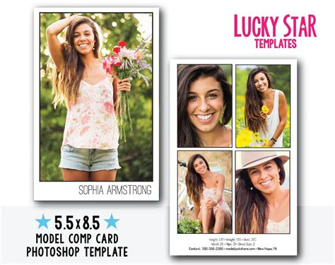 comp card template photoshop customizable digital model comp card power portraits