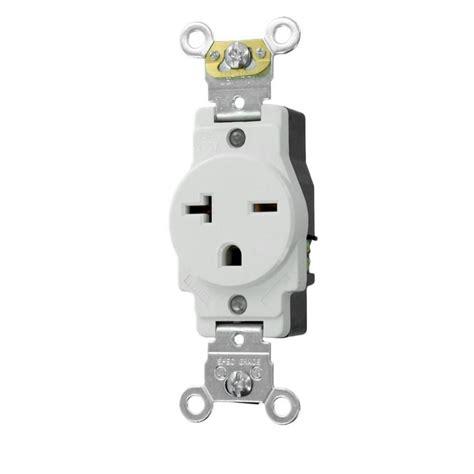leviton receptacle leviton 20 industrial grade heavy duty self grounding single receptacle white 5461 w the