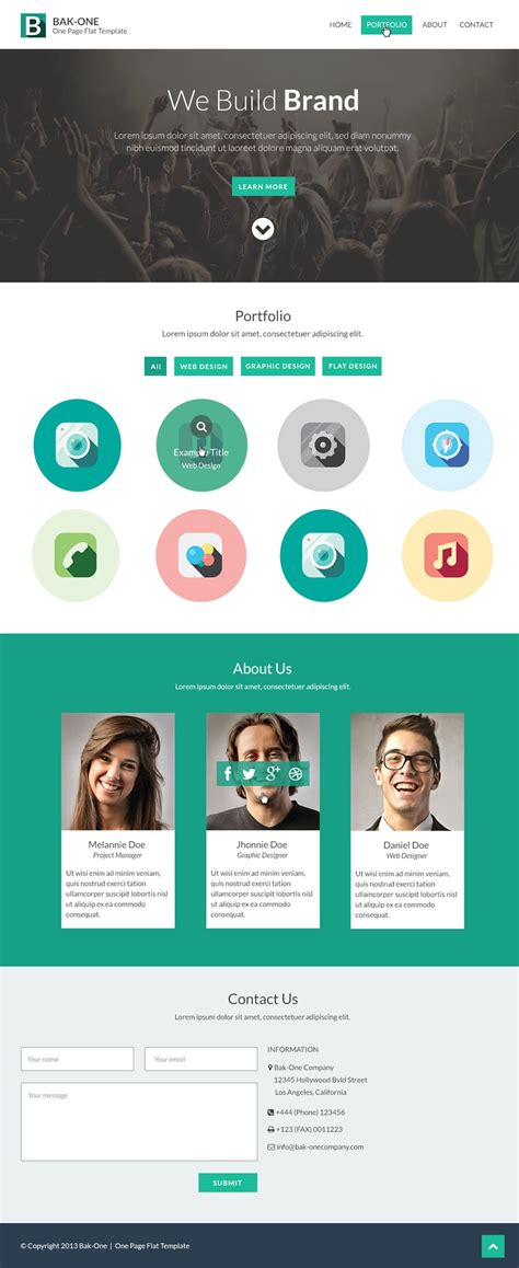 Free Flat Style Single Page Website Design Template Psd Single Page Website Template