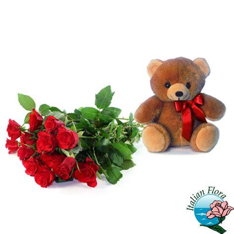 fiori peluche mazzo di rosse e peluche