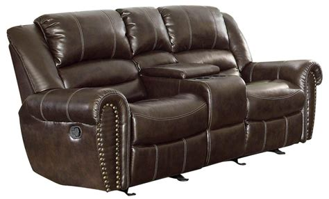 loveseat recliners with center console center hill dark brown power double reclining console