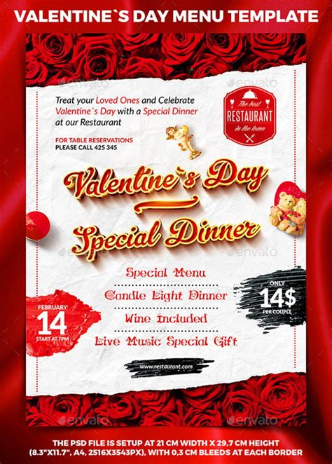 10 valentine s day menu templates psd vector eps