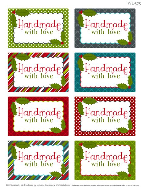 Handmade By Me Labels - printable labels for baking