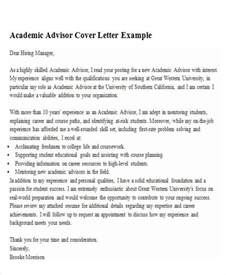 Academic Cover Letter Exle by 6 Sle Academic Advisor Cover Letter Free Sle