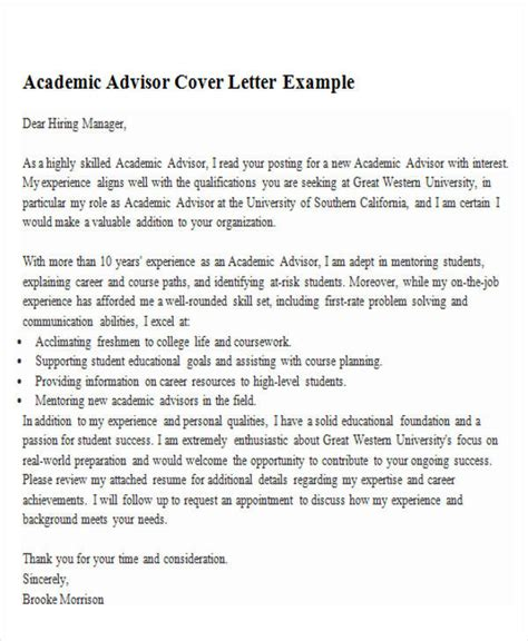 Faculty Adviser Cover Letter by 6 Sle Academic Advisor Cover Letter Free Sle Exle Format