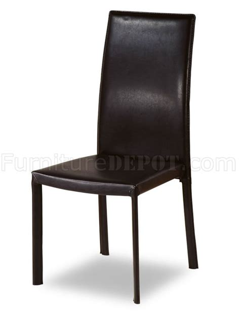 Leather Match Upholstery by Set Of 4 Dining Chairs W Brown Leather Match Upholstery