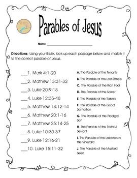 Free Bible Worksheet: Matching Parables of Jesus by Bible