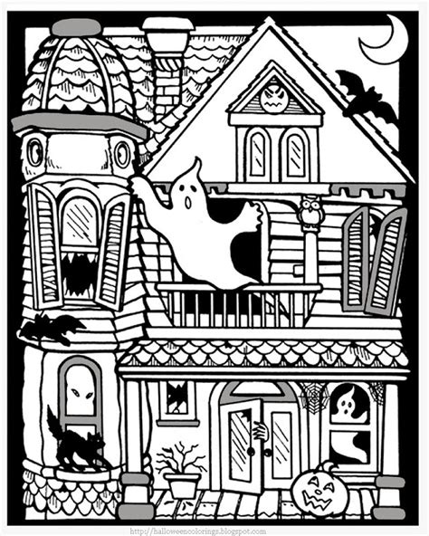 coloring page of haunted house free vire coloring pages