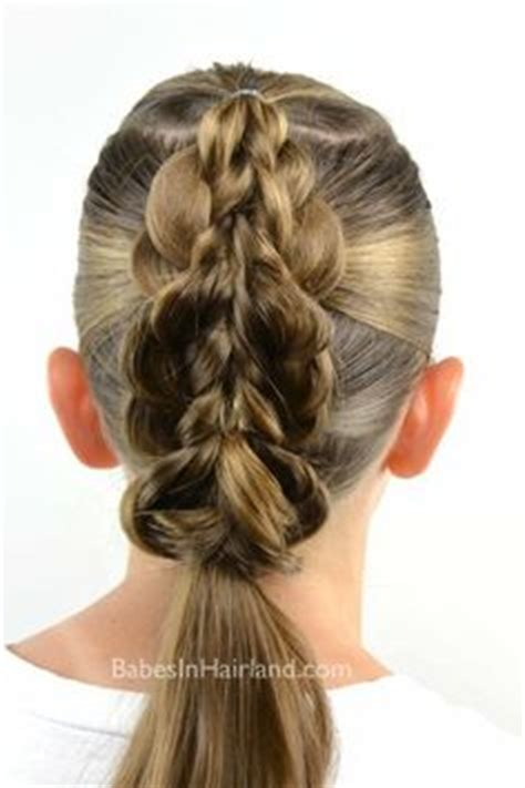 hairstyle using rubberbainds and folding hair through to create braid rubber band wraps flipped braids babes in hairland