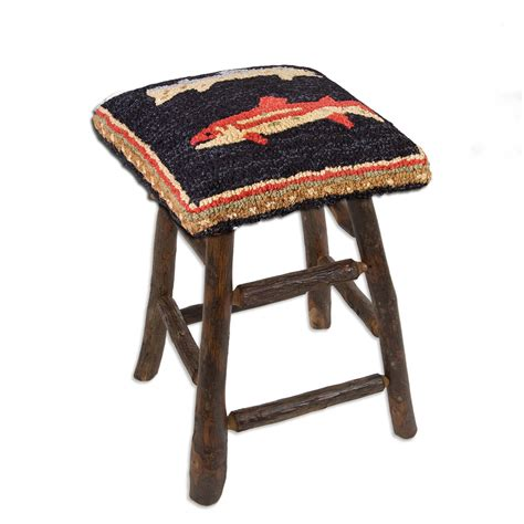 Fish Stools by River Fish Hooked Wool Hickory Counter Stool