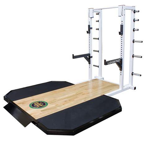 Squat Rack Platform by Half Cage W Oak Insert Lifting Platform Legend Fitness