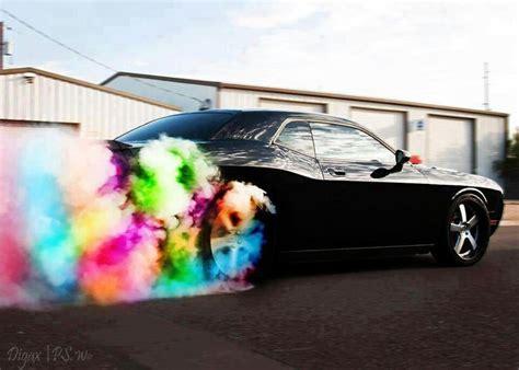 rainbow cars dodge challenger burn the rainbow cars
