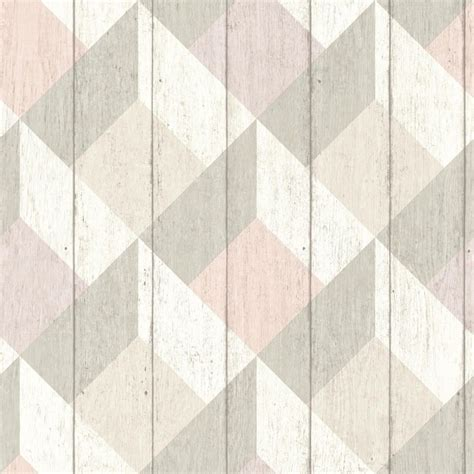 pink and grey pattern wallpaper geometric wood panelling by albany pink and grey
