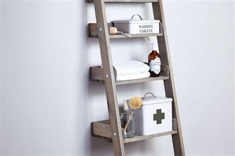 Small Leaning Shelf small bathroom storage solutions wooden leaning ladder