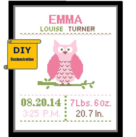 Owl Birth Record Cross Stitch Instant Diy Customizable Pattern Cross Stitch Birth Announcement Cross Stitch