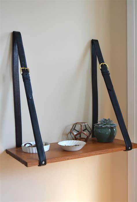 diy leather belt clock hanger diy hanging belt shelf with reclaimed wood recess