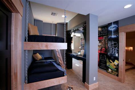 hanging lamps  chain  industrial bedroom  bed