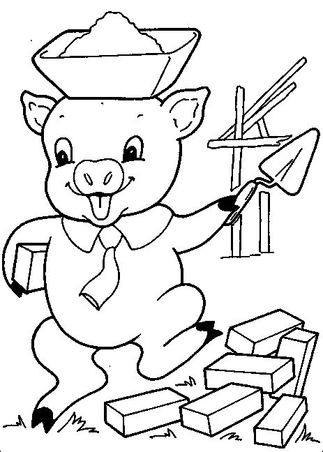 three little pigs wolf coloring pages
