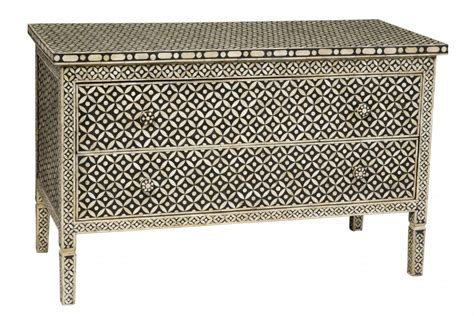 blue patterned chest of drawers bone inlay long 2 drawer chest black geometric black