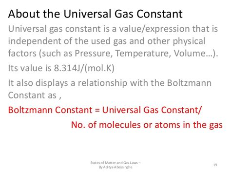 universal gas constant states of matter gas laws