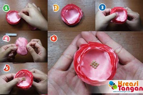 Bros Bunga Jilbab Syarii Abstract Flower Brooch tutorial membuat bunga dari kain satin kerajinan tangan satin and tutorials