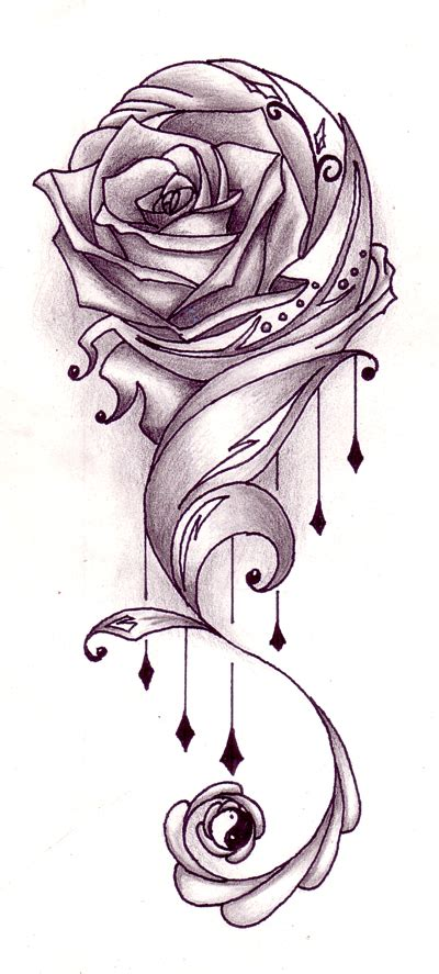 yin yang rose tattoo pinkbizarre tattoos designs