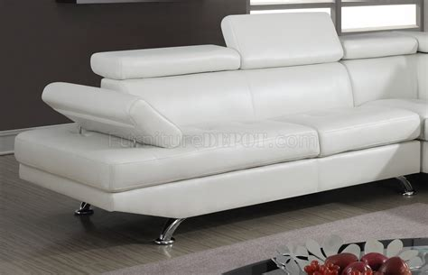 White Bonded Leather Sectional Sofa U9782 Sectional Sofa In White Bonded Leather By Global