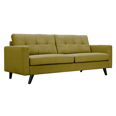 Modern Green Sofa Uma Modern Green Fabric Button Tufted Sofa With Black Finish