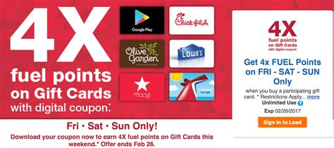 Kroger Online Gift Card - kroger 4x fuel points on gift cards friday sunday doctor of credit