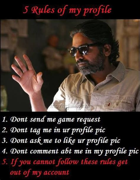 tamil actor funny quote vijay sethupathi 5 rules of my profile fb pic funny