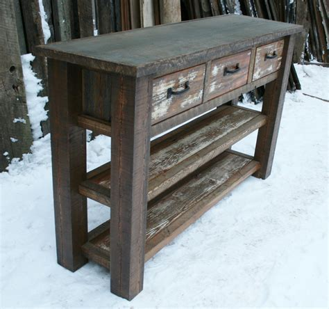 Entrance Console Table Reclaimed Rustic Console Entry Table By Echopeakdesign On Etsy