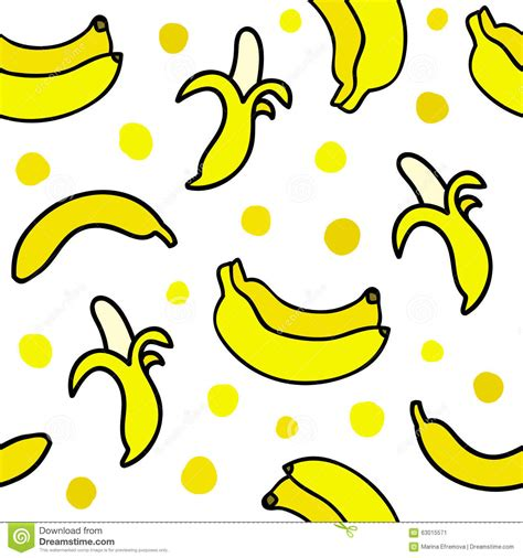 Seamless Pattern With Hand Drawn Bananas. Stock Vector