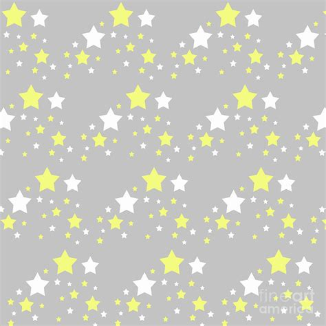 Grey And Yellow Duvet Covers Yellow And White Stars On Grey Gray Digital Art By Laura