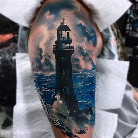 light house tattoo shoulder realistic lighthouse best ideas
