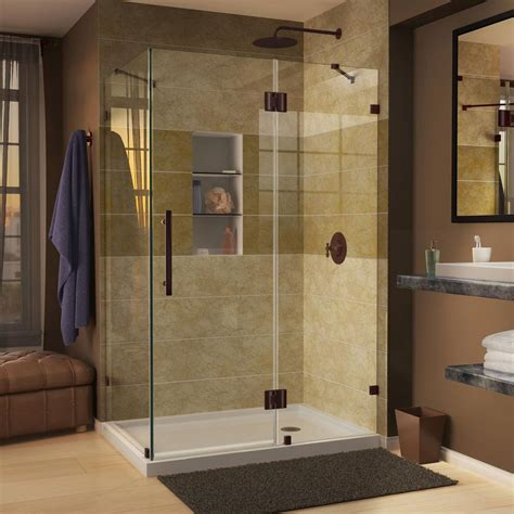 Dreamline quatra lux 46 5 16 in x 34 5 16 in x 72 in frameless corner hinged shower enclosure